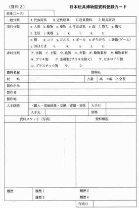 *当館の「日本玩具博物館カード」 カード に資料番号を玩具資料にも明記します。